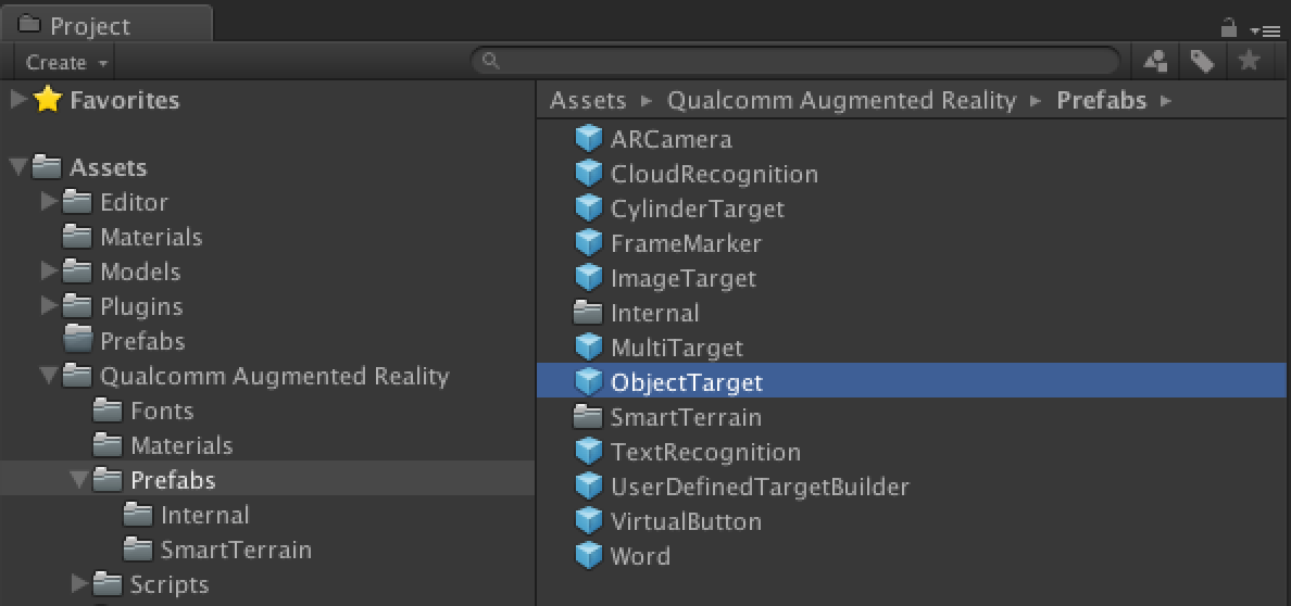 Object Target Prefab in Project View