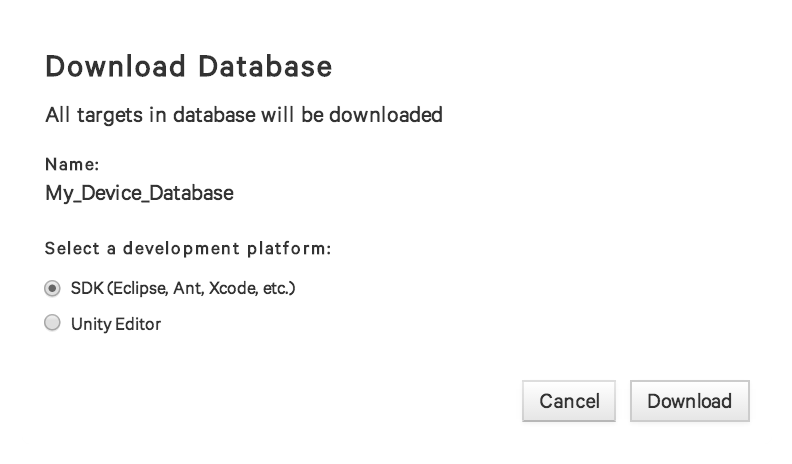 Download Database Dialog