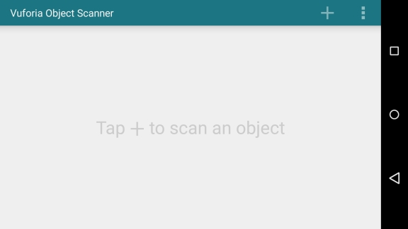 Description: Scanner home screen with no saved scanning sessions